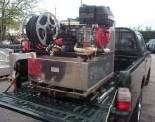 Kits d'extinction incendie à poser sur un véhicule d'interventions (pick-up ou fourgon) ou remorque avec motopompe Haute pression et cuve INOX en forme L .