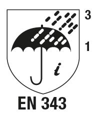 EN 343+A1 : 2007 Vêtements de protection - Pro- tection contre la pluie.