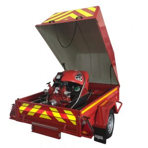 Fire engine on trailer
