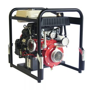 Petrol fire engine with electric starter