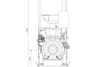 Dimensions groupe motopompe fixe sur châssis